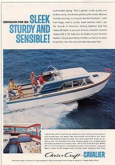 Chris Craft Cavalier Boat Sleek Sturdy Sensible 1962 Boating Ad