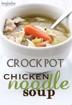 Chicken noodle soup made in a crock pot--such a good recipe for days when you don't feel good.