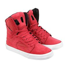 Supra Skytop Ii Mens Red Suede High Top Lace Up Sneakers Shoes2054 Supra Skytop, High Top Sneakers, Shoes Sneakers, Sneaker Boots, Lace Tops, Men, Clothes, Fashion, Mobile Wallpaper