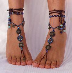 SKY MANDALA barfuss Sandalen Schmetterlinge Fuß Schmuck Hippie Sandalen Zehe Ring Fußkette Perlen häkeln barfuß Stammes-Sandale Festival yoga