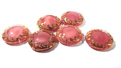 Pink Moonglow Glass Shankless Buttons West Germany VINTAGE Pink Gold Luster Buttons Six (6) Vintage Buttons Jewelry Sewing Supplies (S84) by punksrus on Etsy