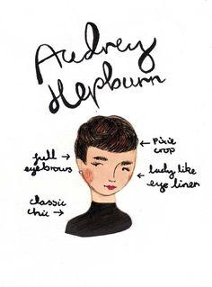 Audrey Hepburn: cabelinho curto e sobrancelhas cheias