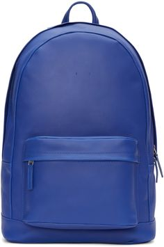 PB 0110 - Blue Leather Front Pouch Backpack