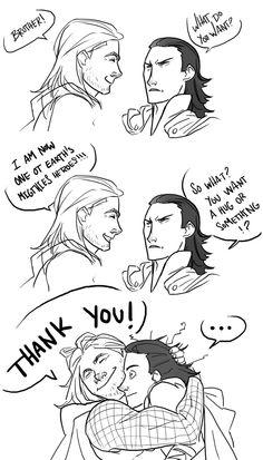 The one where Thor tricked Loki into a hug... :) Original post: http://navydream.tumblr.com/post/33843602123/i-had-thorki-feels