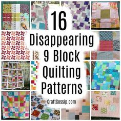Here is a roundup of some of the best Disappearing 9 Block Quilting Patterns. The patterns are free and they're all a bit different so find your favorite style and start quilting! Free Baby Quilt Patterns, Quilt Block Patterns, Pattern Blocks, Quilt Blocks, Sewing Patterns, Lap Quilts, Scrappy Quilts, Stitch Patterns, Quilting For Beginners