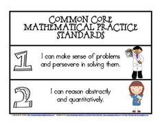 """Here are the 8 Mathematical Practice Standards for Common Core written in """"I Can"""" statements. It includes a poster with all 8 standards on it and separate strips that can be used in a pocket chart. Standards For Mathematical Practice, Mathematical Practices, Math Practices, Core Standards, Mathematics, Third Grade Math, Second Grade, Math Classroom, Classroom Ideas"""