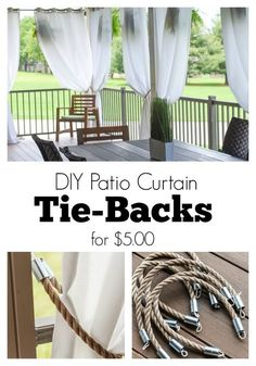 DIY Patio Curtain Tie-Backs tutorial! It only cost $5 a piece to make them like this! Rope, nautical, couplings, electrical tape, line, and done!