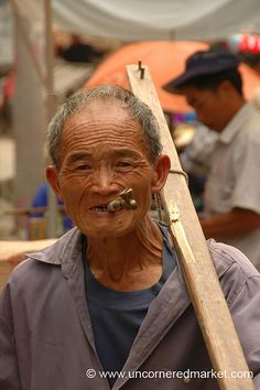 Elderly Man with Pipe - Guizhou Province, China