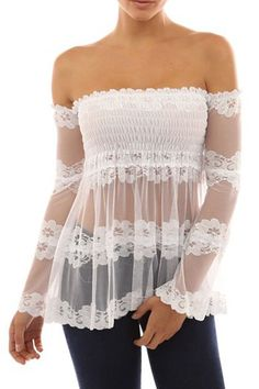 Slash Neck See-Through Lace Long Sleeve Blouse  $12.99
