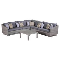 "RST Brands Cannes 6-Piece Corner Sectional Set with Cushions, Charcoal Grey, 31"" x 48"" x 33"". Overall dimensions: sofa sections: 2) 48 in  w x 33 in  d x 31 in  h armless chairs: 31 in w x 33 in d x 31 in h. Corner unit: 33 in w x 33 in d x 31 in h conversation table: 33 in w x 33 in d x 16 in h seat height: 19 in weight capacity: 400 lbs. Powder-Coated aluminum frame. Holds up great in salt and chlorinated environments. Warranty details: one year."