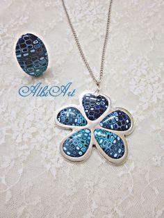 Colgante flor murrina retro azul