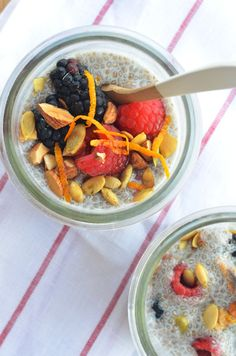 Soaked chia seeds don't turn into plants, but they do get kind of pudding-y, and they're full of healthy antioxidants! Make a big batch of this stuff, portion it out, and boom, you have a cute jar of goodness to perk you up when you boot up your computer.   Get the recipe at Cosmo!