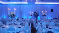 White Wedding Venue Reception Set up Blue Wedding Receptions, Wedding Venues, Flower Centerpieces, Wedding Bouquets, Table Decorations, Flowers, Inspiration, Accessories, Home Decor