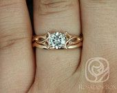 Orla 6mm & PLAIN Band 14kt Rose Gold Round FB Moissanite Celtic Knot Triquetra Classic Wedding Set (Other Options Available)