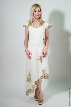 """Купить Платье из хлопка """"Лидия"""" из льна - повседневное платье, платье на каждый день, платье на лето"""