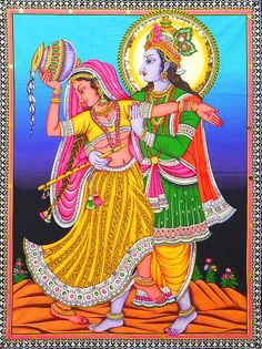 Radha Krishna - the Divine Lovers (Print on Cloth with Sequin Work - Unframed)