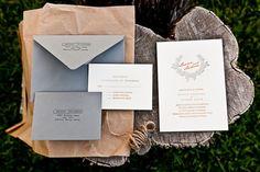 Lauren + Andrew's Orange and Gray Fall Wedding Invitations