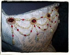 Ruby and Gold Banners Tudor Renaissance Bodice Jewelry Pearls