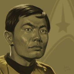 star trek character art | Star Trek TOS portrait series 04 - Sulu - Takei by jadamfox