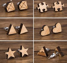 6 pair of wood earrings of various shapes to choose from daily. Use as your main earring choice for the day or for your and ear holes to add some fun. Wood Laser Ideas, Laser Cut Wood, Laser Cutting, Wooden Earrings, Wooden Jewelry, Graveuse Laser, Diy Jewelry Kit, Wood Carving Designs, Laser Cut Jewelry