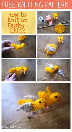 Lets Play Music: How to Knit an Easter Chick Spring Easter time songs for kids Easter Chick, Easter Bunny, Easter Songs, Pin Weaving, Knitting Patterns, Free Knitting, Knitting Ideas, Easter Parade, Easter Crochet