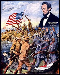 """Wartime poster of the 369th fighting German soldiers, with the figure of Abraham Lincoln above. They were named the 'Hellfighters"""".The 369th Infantry Regiment, formerly known as the 15th New York National Guard Regiment, was an infantry regiment of the United States Army that saw action in World War I and World War II. The Regiment consisted of African-Americans and African Puerto Ricans and was known for being the first African-American regiment to serve with the American Expeditionary…"""