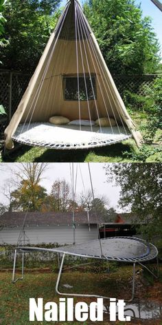 Our first attempt at making a trampoline swing. Our first attempt at making a trampoline swing. Recycled Trampoline, Trampoline Swing, Backyard Trampoline, Backyard Camping, Backyard Playground, Backyard For Kids, Backyard Projects, Backyard Landscaping, Trampoline Ideas