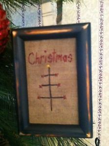 Primitive Sampler~ Christmas ~Primitive Ornament ~ Tuckaway ~Mini Stitchery