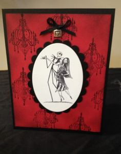 Nightmare Before Christmas Jack Sally Chandelier Handmade Card Halloween