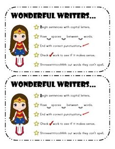 Motivate your students to become super writers with this super hero set of writing checklists and awards.