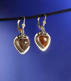Heart Red Agate Stone Earrings Bezel set Sterling Silver Handcrafted by RichieStubStudio on Etsy