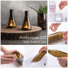 Tutorial de decoración DIY para hacer portavelas con botellas de vidrio.