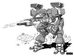 Commissioned piece of a battletech game mech Wacom and PS over pencil sketch mattPLOG
