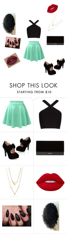 """Made by my little cousin"" by b-e-a-u-t-y-1 ❤ liked on Polyvore featuring LE3NO, BCBGMAXAZRIA, Balmain and Lime Crime"