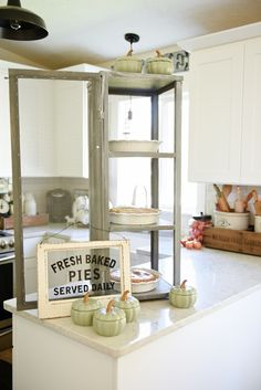 DIY Mini Pie Safe - cabinet, glass doors, kitchen display decor, vintage up cycled, sage green chalk paint