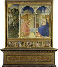 La anunciación. Fra Angélico. e La pérdida (Adán y Eva expulsados del Paraíso) y salvación del hombre  (Anunciación de María).