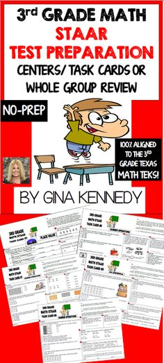 NO-PREP! 3rd Grade STAAR Math Centers/Task Cards with multiple tasks on each card, presenting the TEKS in new challenging ways. Great for centers, whole group review or task cards. The TEKS are listed on each card.  Included are 16 large task cards with numerous tasks and activities that cover all of the 3rd grade Math TEKS covered on the STAAR exam.  Each card includes a multitude of challenging and authentic activities to review the individual TEKS listed for preparation of the important…