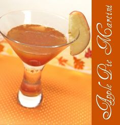 Apple Pie Martini   1 oz Vanilla Vodka  2 oz apple cider  1/2 tsp lime juice  1/4 tsp cinnamon  Pour the ingredients into a cocktail shaker filled with ice. Shake well. Strain into a chilled martini glass. Garnish with a slice of apple. fall-drinks
