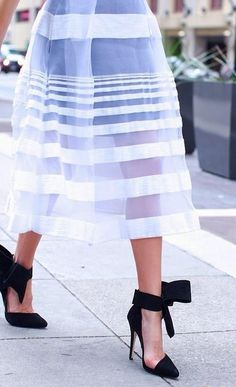White striped overlay skirt with the most deliciously fabulous black heels.