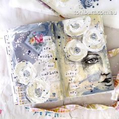 """""""you are whole and complete just as you are""""  art journal spread using mixed media, sketching, old shabby flowers."""