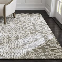 Florian Grey Wool-Blend Rug | Crate and Barrel