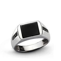 NATURAL ONYX Men's Ring SOLID Sterling Silver Classic Ring Black #Handmade #Statement