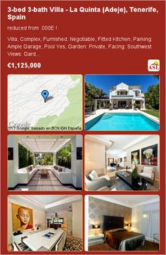 3-bed 3-bath Villa in La Quinta (Adeje), Tenerife, Spain ▶€1,125,000