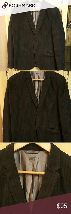 MENS- Armani Exchange blazer Mens Armani Exchange black stripped blazer has a flap in the back, in perfect condition like new. Armani Exchange Suits & Blazers