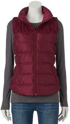Juniors' SO® Sweater-Yoke Puffer Vest Puffer Vest, Girls Sweaters, Winter Jackets, Teen, Stylish, Fashion, Sweater Vests, Winter Coats, Moda