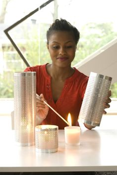 Metal candle holders made out of decorative sheet metal from Lowes