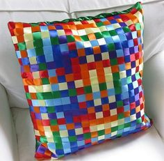 woven ribbon pillow