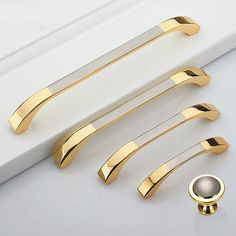 Large Dresser Knobs Pulls Handles Drawer Pulls Handles Knobs Double Color Gold Silver Kitchen Cabinet Knobs Pulls Modern Furniture Handles The price is for one piece. 2 colors to choose from. Material: zinc alloy Color: 1. Gold with Brushed Silver 2. Bright Silver and Brushed Silver