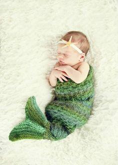 Knit mermaid baby cocoon