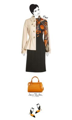 """""""Office outfit: Beige - Orange"""" by downtownblues ❤ liked on Polyvore featuring Boutique Moschino, James Lakeland, Giuseppe Zanotti and Jane Shilton"""